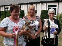 Photo of judge Mrs C Minton with smoothcoat Bset of Breed and Reserver Best of Breed